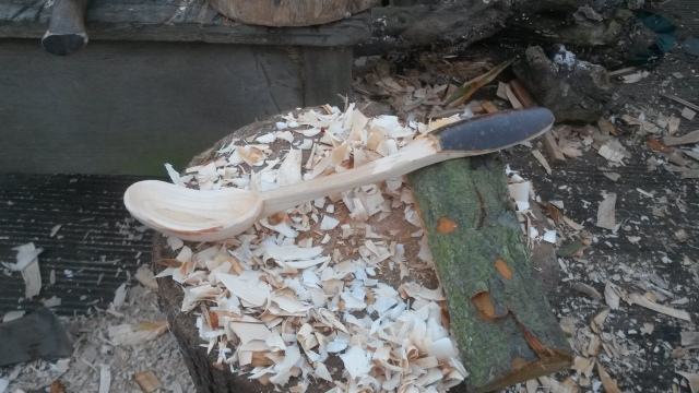 Not the best photo but the branch produced this lovely small ladle and my first attempt of keeping some of the bark on the handle as it does connect you with the tree and branch the spoon came from.